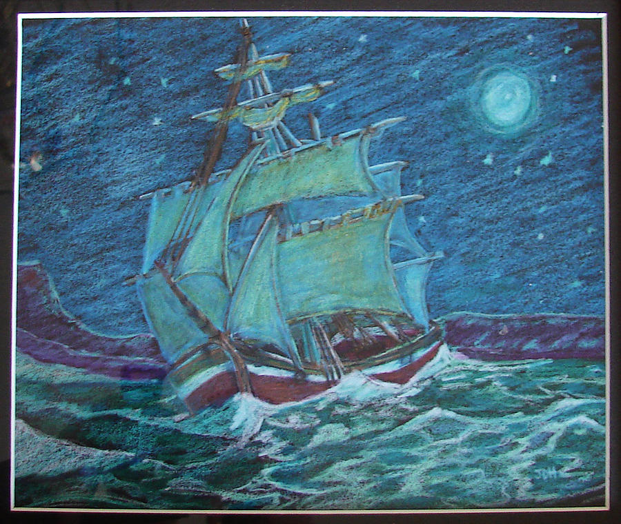 Ship At Sea Drawing