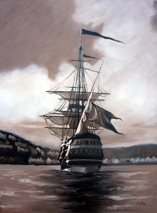 Ship In Sepia Painting  - Ship In Sepia Fine Art Print