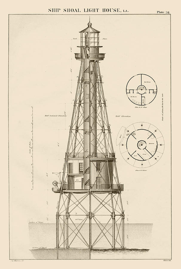 Ship Shoal Lighthouse Drawing Drawing