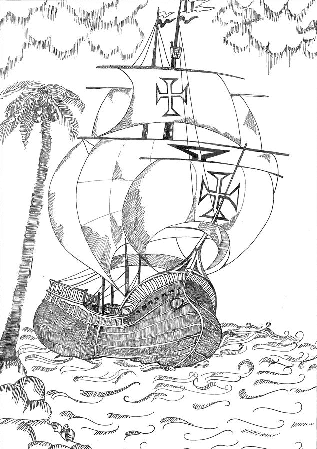 Ship Drawing  - Ship Fine Art Print
