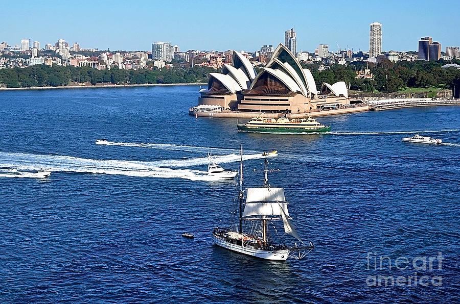 Ships And Boats Passing Opera House Photograph  - Ships And Boats Passing Opera House Fine Art Print