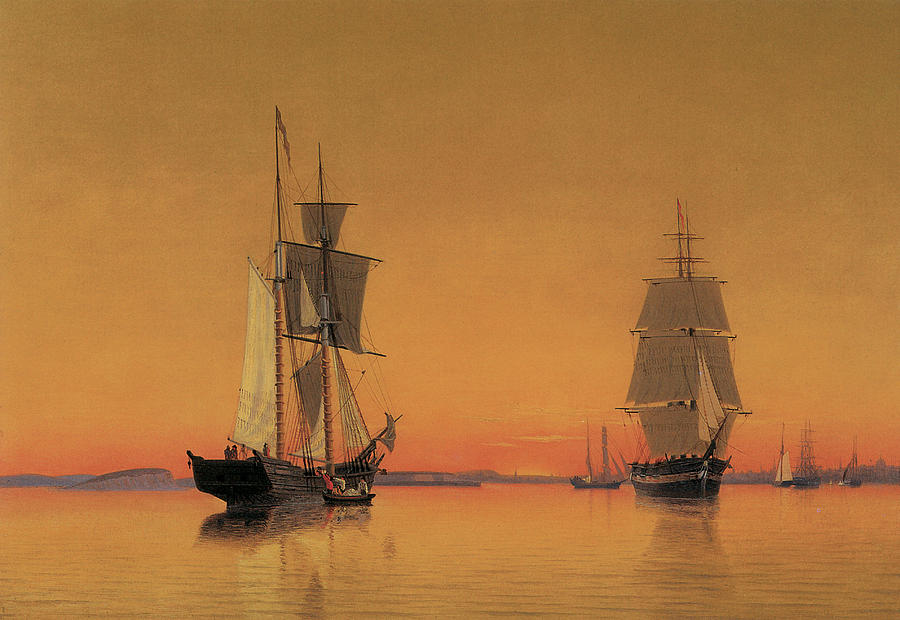 Ships In The Boston Harbor At Twilight Painting