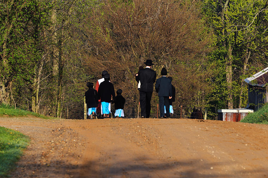 Shipshewanna Amish Family On Their Way To Church Photograph