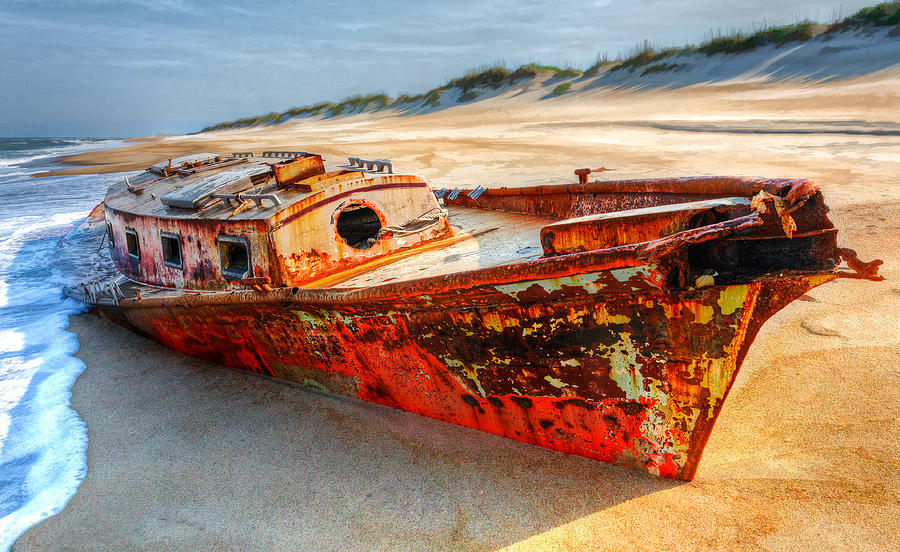 Shipwrecked Boat On Outer Banks Front Side View Photograph  - Shipwrecked Boat On Outer Banks Front Side View Fine Art Print