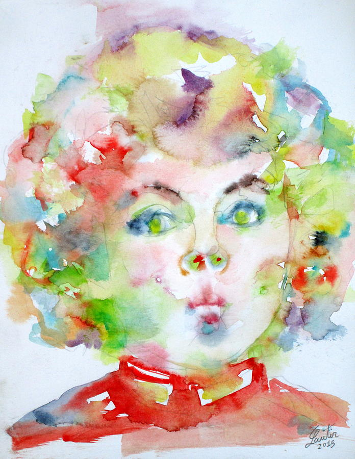 Shirley Temple - Watercolor Portrait.2 Painting  - Shirley Temple - Watercolor Portrait.2 Fine Art Print