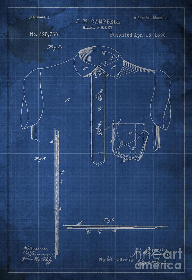Shirt Pocket Blueprint Patent Digital Art - Shirt Pocket Blueprint Patent by Pablo Franchi