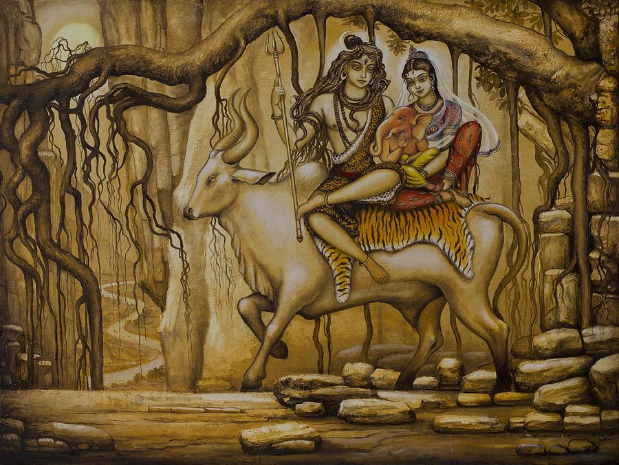 Shiva Parvati Ganesha Painting