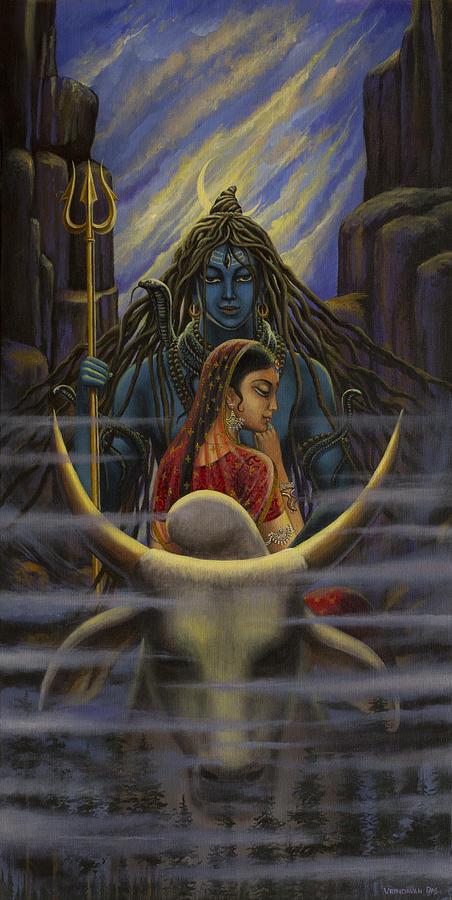 Shiva Parvati. Night In Himalayas Painting