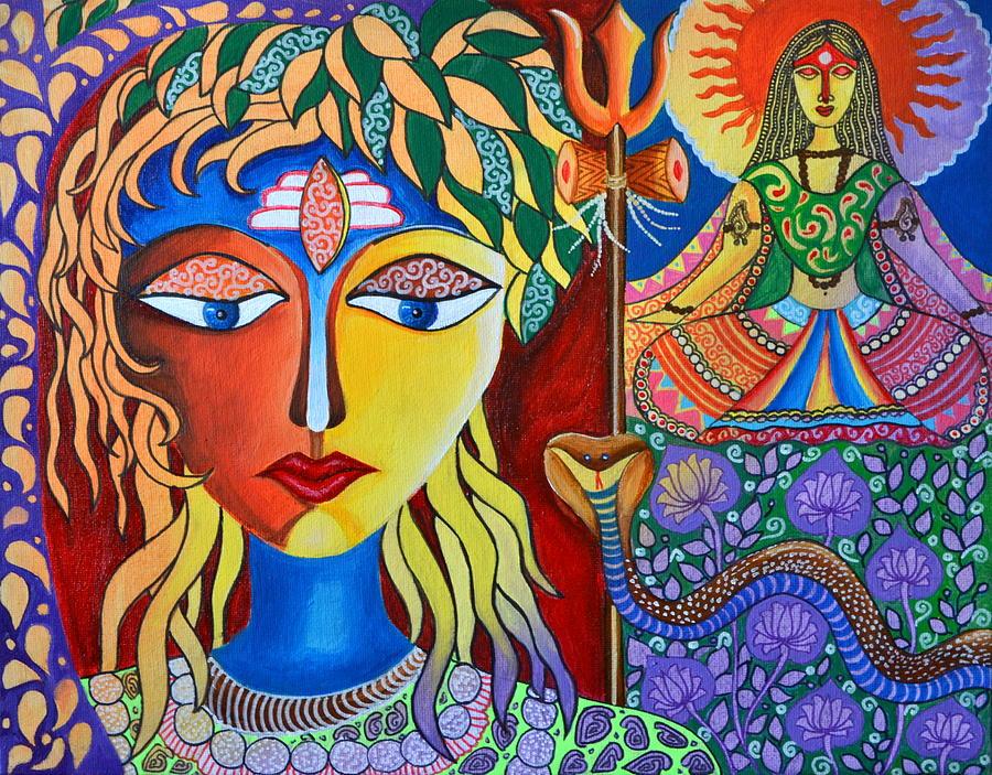 Shiva Painting - Shiva-sati by Deepti Mittal