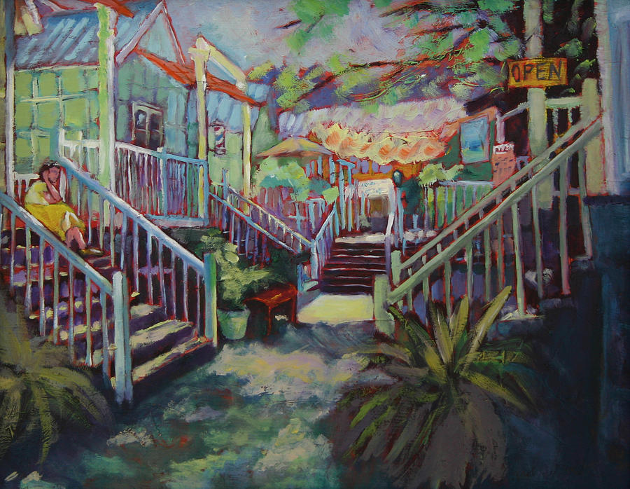 Store Fronts Painting - Shoppe Talk by Carol Jo Smidt