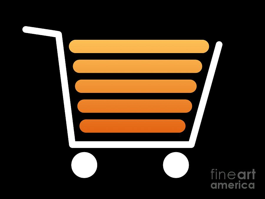 Shopping Cart White Digital Art  - Shopping Cart White Fine Art Print