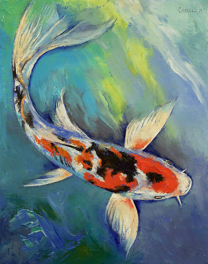 Showa butterfly koi painting by michael creese for Koi canvas print