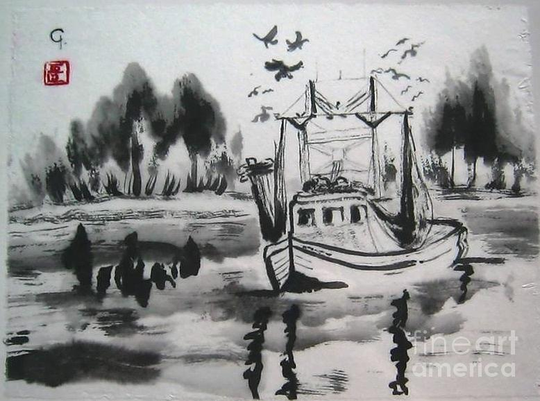 Sumi-e Ink Painting - Shrimp Boat Biloxi by Jeanel Walker