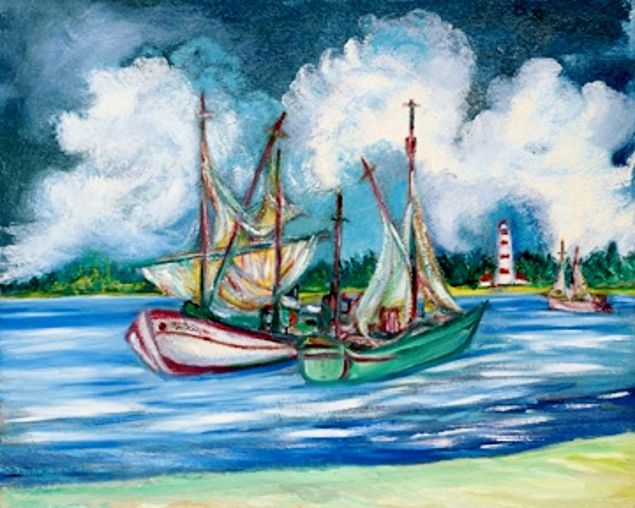Shrimpers At The Lighthouse Painting