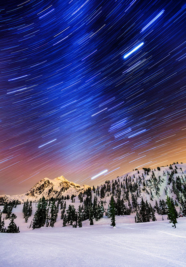 Shuksan Star Trails Photograph