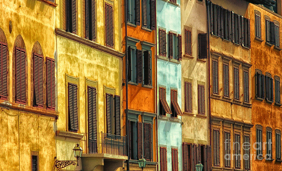 Windows Photograph - Shuttered Windows Of Florence by Mike Nellums