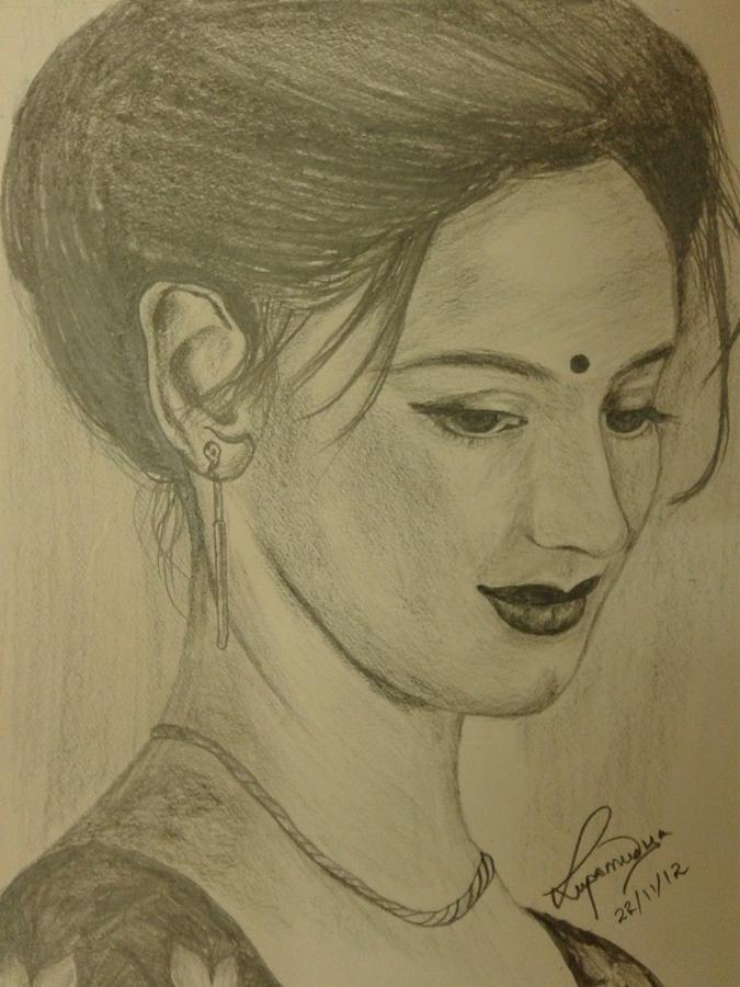 A Pretty And Shy Lady  Drawing - Shy by Lupamudra Dutta