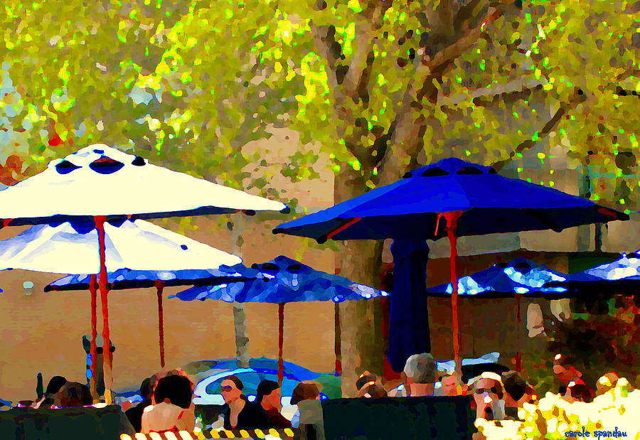 Sidewalk Cafe Blue Bistro Umbrellas Downtown Oasis Terrace Montreal City Scene Carole Spandau Painting  - Sidewalk Cafe Blue Bistro Umbrellas Downtown Oasis Terrace Montreal City Scene Carole Spandau Fine Art Print