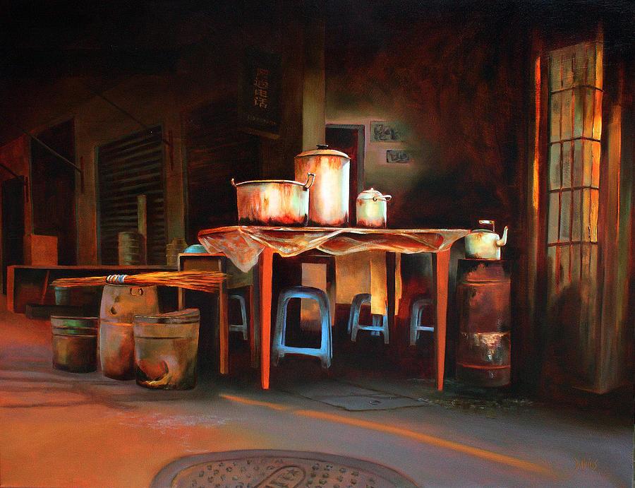 China Painting - Sidewalk Cafe by Sue  Darius