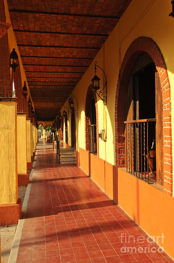Sidewalk In Tlaquepaque District Of Guadalajara Photograph  - Sidewalk In Tlaquepaque District Of Guadalajara Fine Art Print