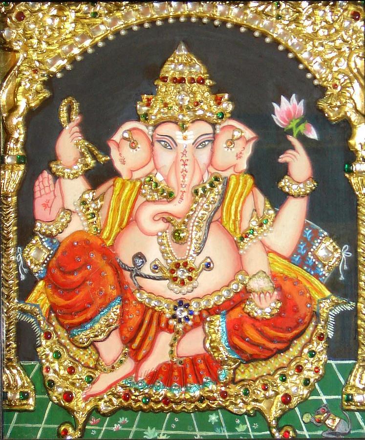 Tanjore Painting - Sidha Ganapathi by Jayashree