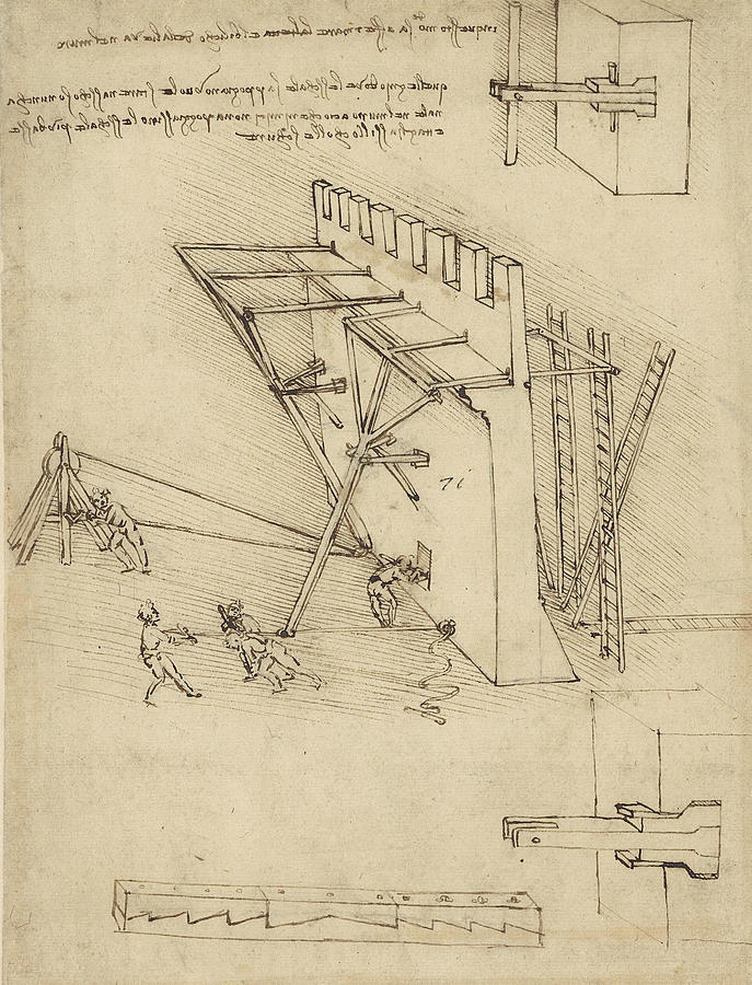 Siege Machine In Defense Of Fortification With Details Of Machine From Atlantic Codex Drawing
