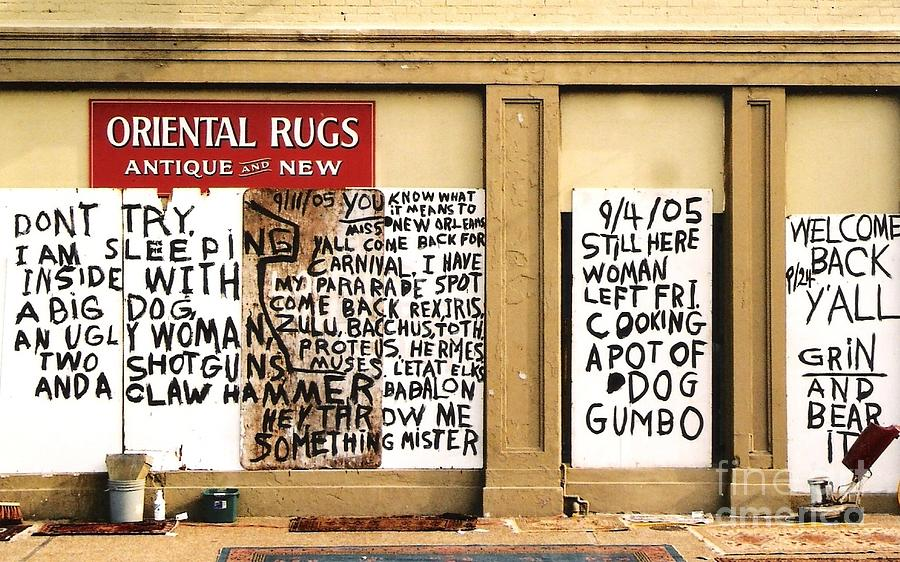 New Orleans Architecture Greeting Cards Photograph - Sign Of Distress Post Hurricane Katrina Message by Michael Hoard