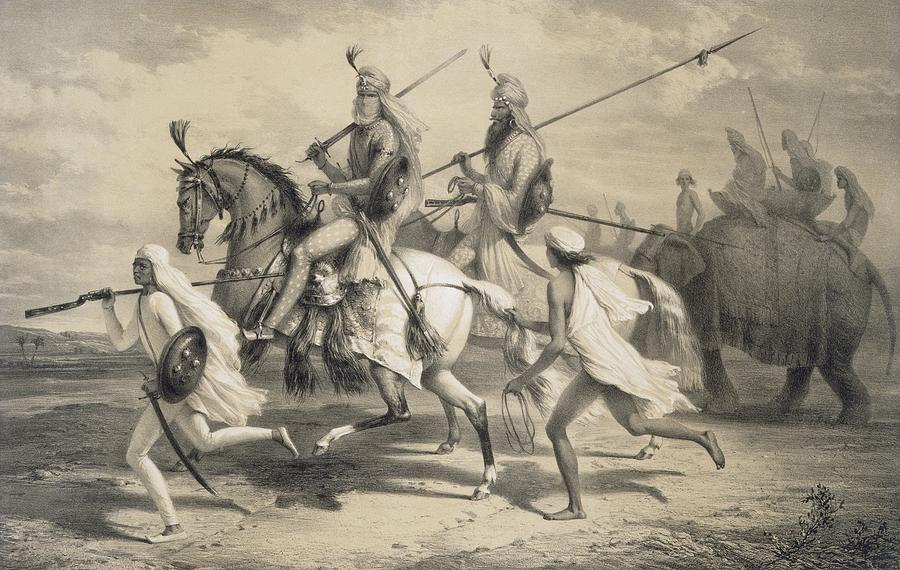 Sikh Chieftans Going Hunting Drawing