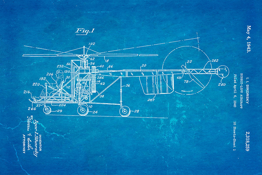 Sikorsky Helicopter Patent Art 1943 Blueprint By Ian Monk