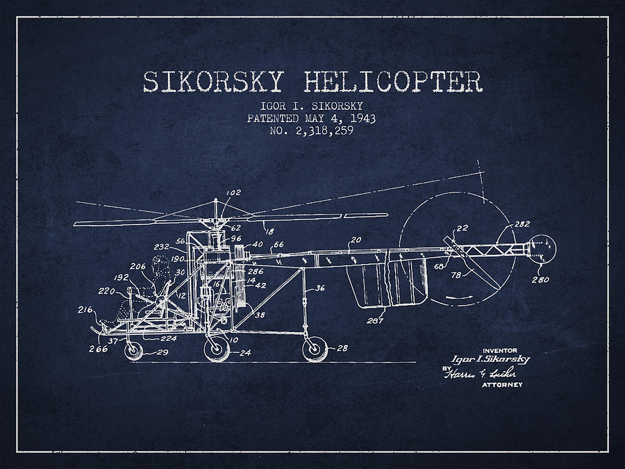 Sikorsky Helicopter Patent Drawing From 1943 Drawing