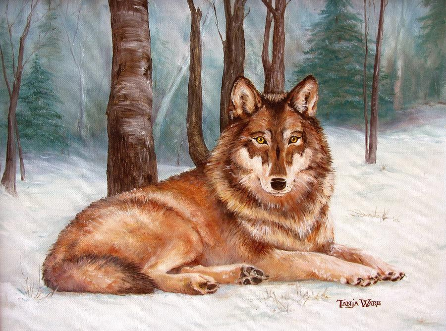 Wolf Painting - Silent Watch by Tanja Ware