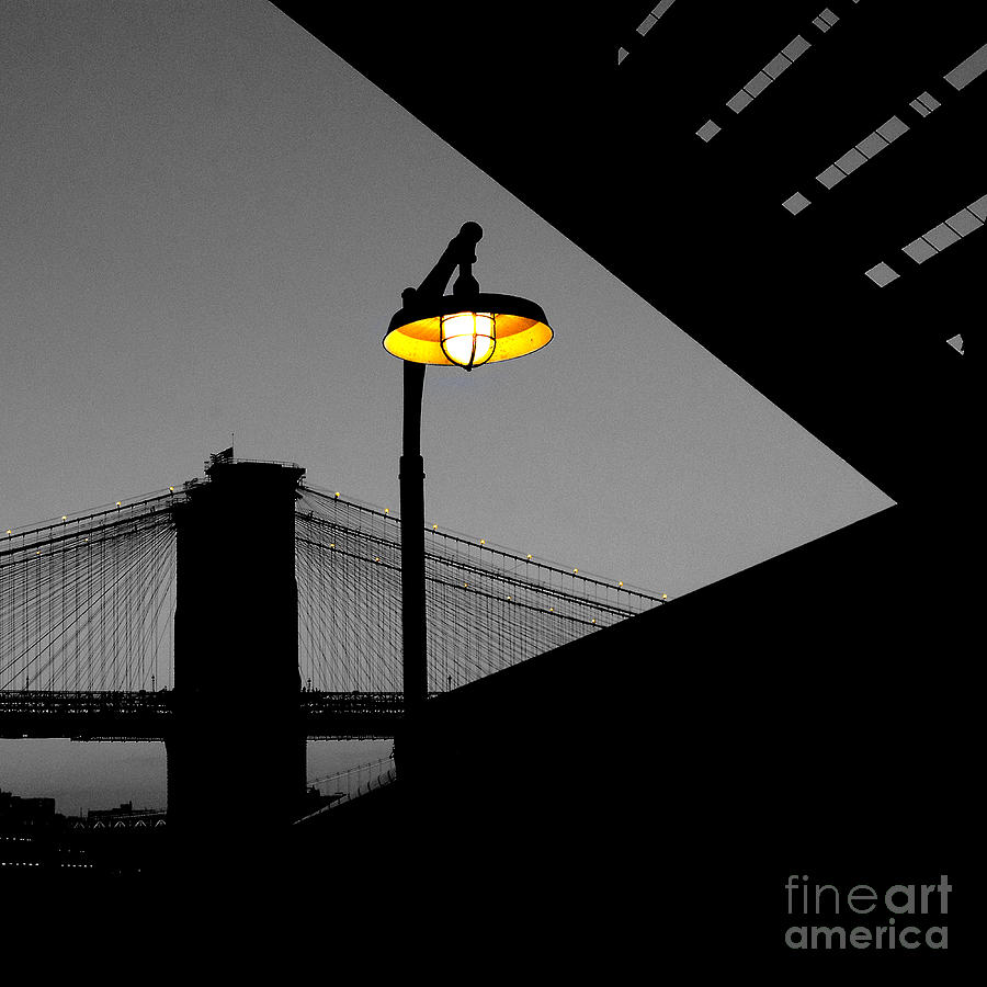 Silhouette Of Brooklyn Bridge New York City Photograph  - Silhouette Of Brooklyn Bridge New York City Fine Art Print