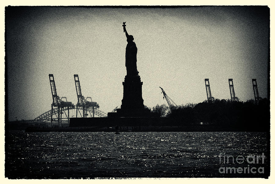 Silhouette Of Miss Liberty Photograph  - Silhouette Of Miss Liberty Fine Art Print