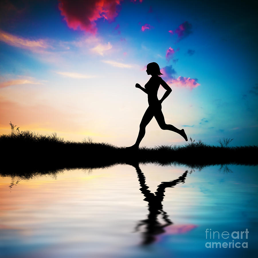 Silhouette Of Woman Running At Sunset Photograph  - Silhouette Of Woman Running At Sunset Fine Art Print