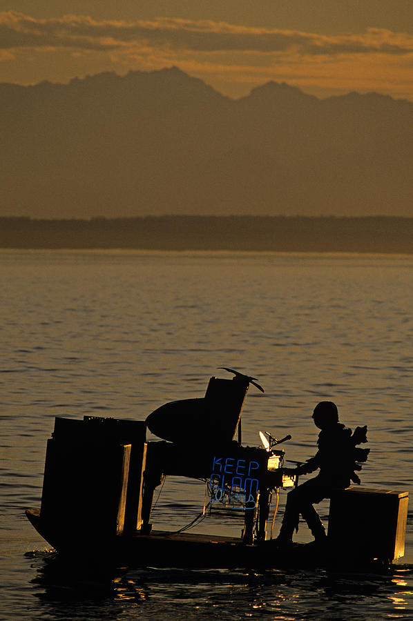 Silhouetted Sea Monster Playing Piano.tif Photograph
