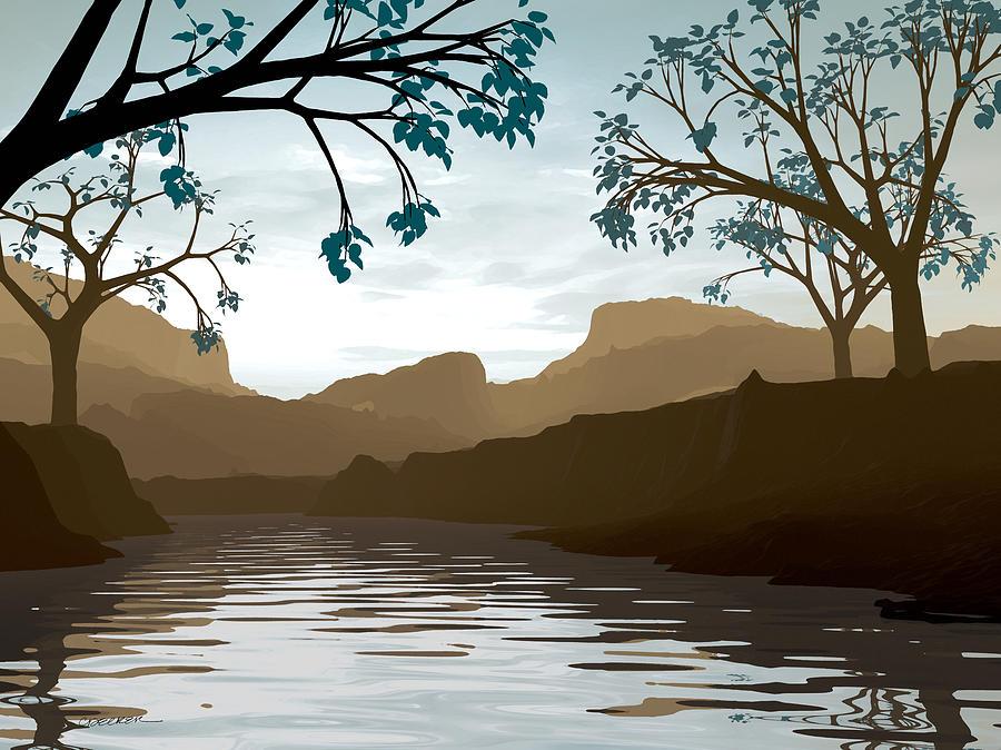 Brown Digital Art - Silkscreen by Cynthia Decker