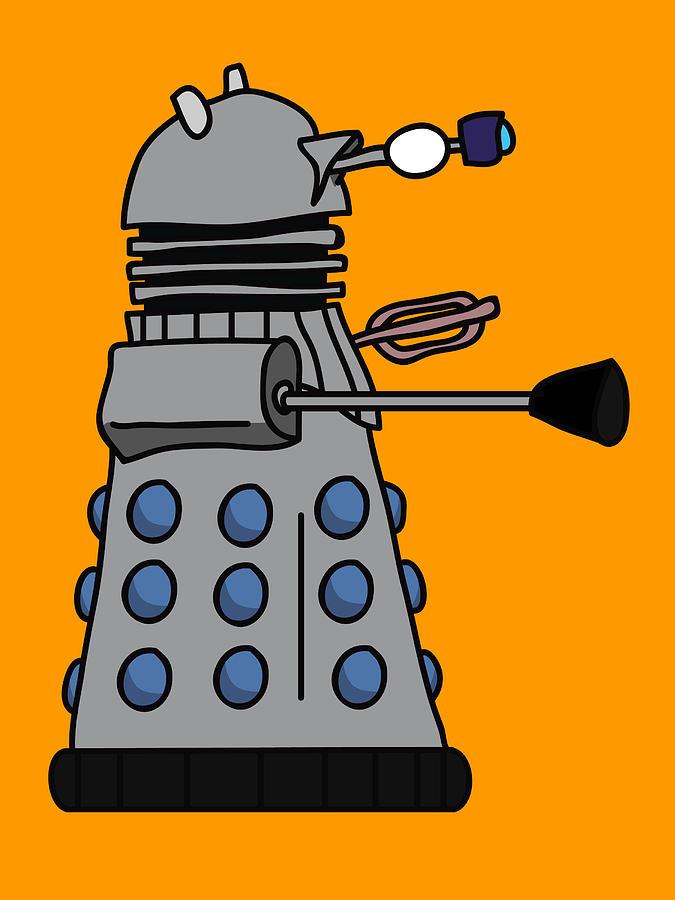 Dalek Digital Art - Silly Robot by Jera Sky