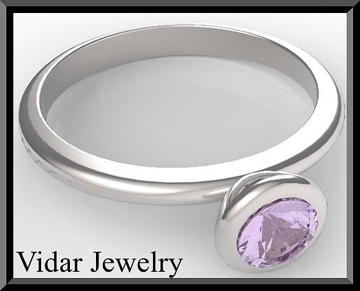 Silver Engagement Ring With Purple Amethyst Jewelry
