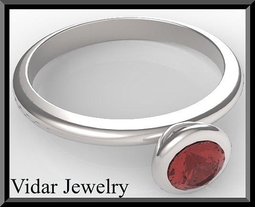 Gemstone Jewelry - Silver Engagement Ring With Red Garnet by Roi Avidar