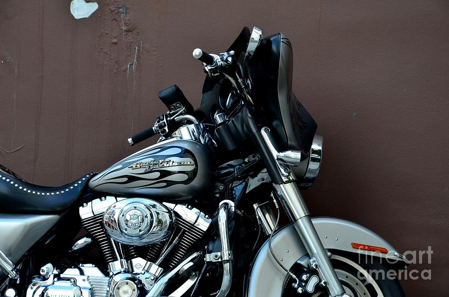 Silver Harley Motorcycle Photograph