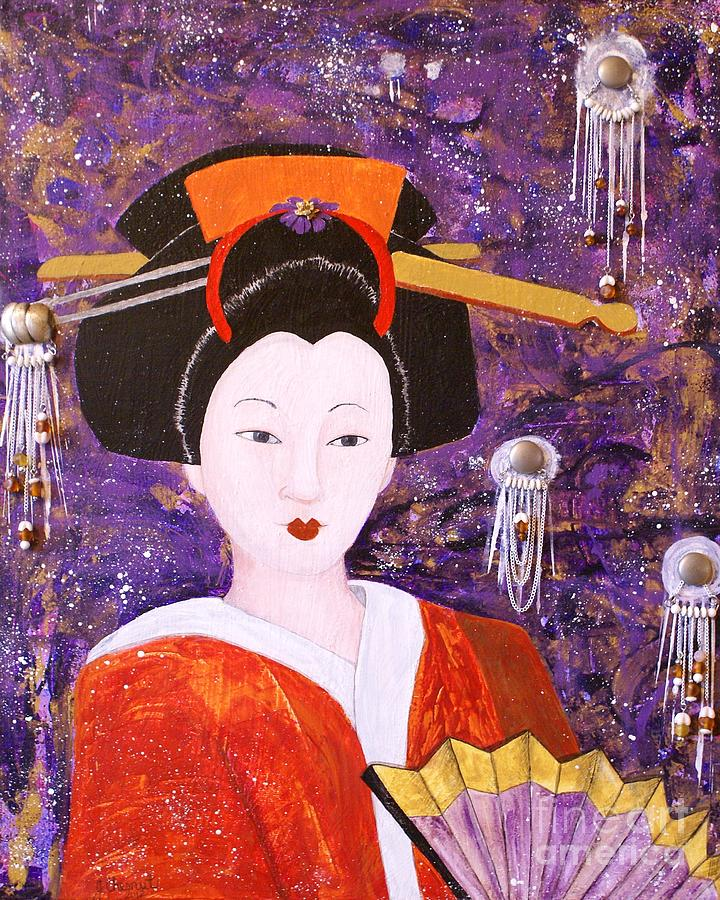 Silver Moon Geisha Painting