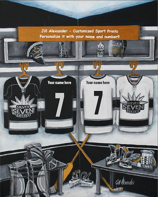 Hockey Painting - Silver Seven by Jill Alexander