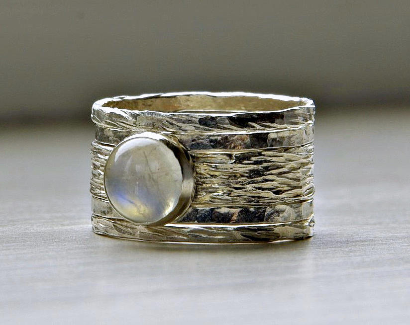 Simone Rustic Stackable Wedding Ring  Set Of Five Textured Wedding  Engagement Rings And Moonstone Jewelry