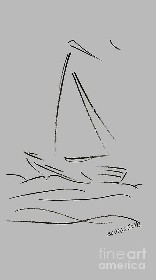 Simple Sailing Boat Drawings Drawing by Mario Perez