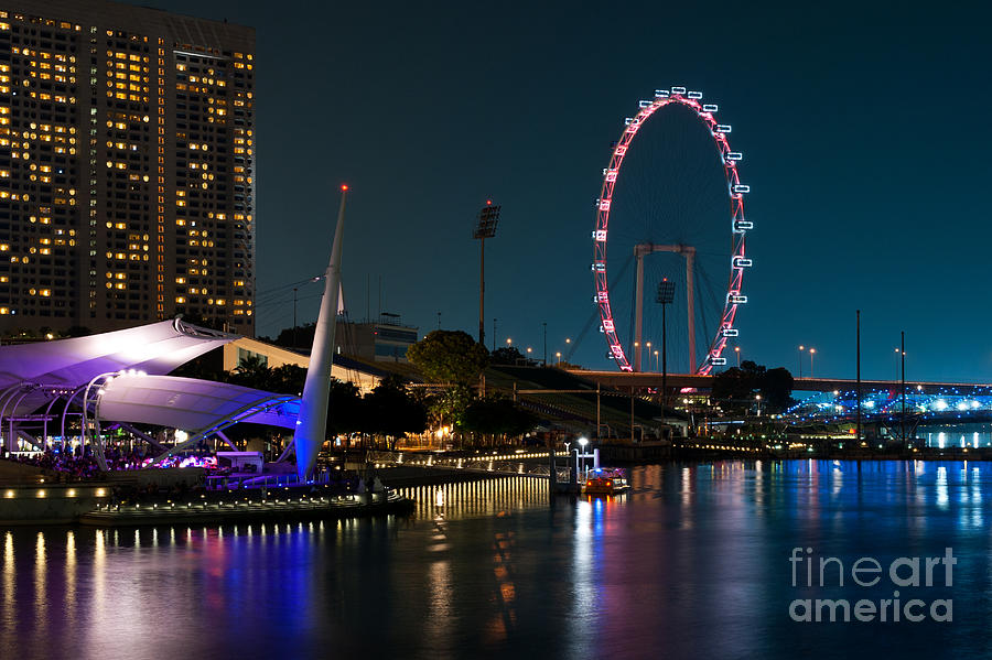 Singapore Flyer At Night Photograph