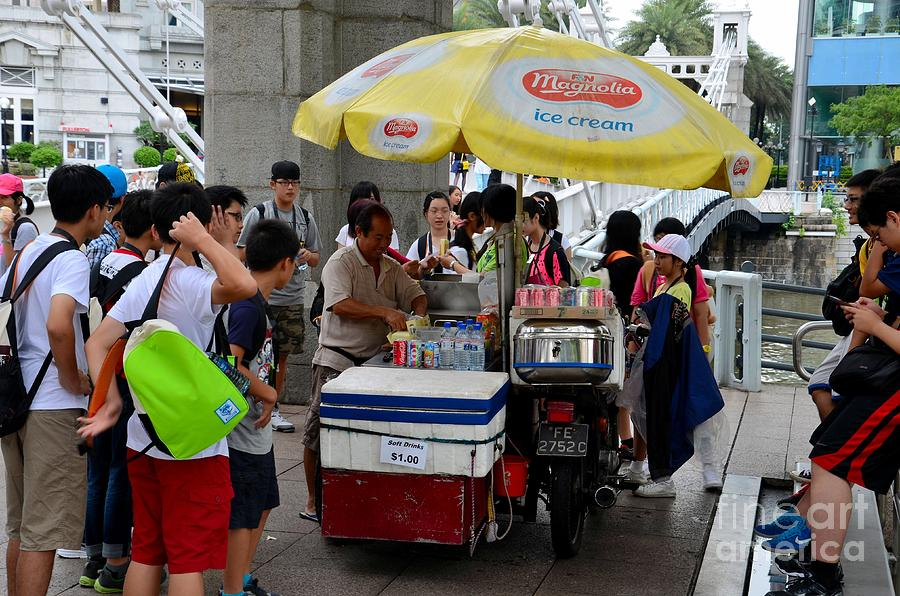 Students Photograph - Singapore Ice Cream Man And Bicycle Swamped By Students by Imran Ahmed