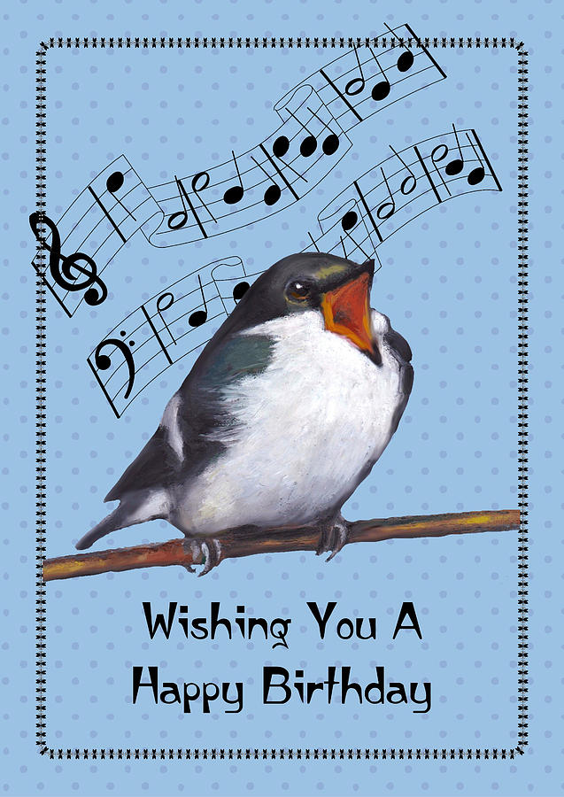 Birthday Pastel - Singing Bird Birthday Card by Joyce Geleynse