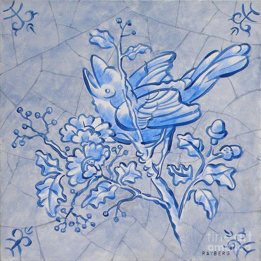Singing Bird Painting - Singing Bird Delft Blue by Raymond Van den Berg