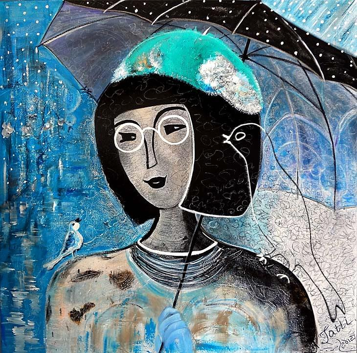 Singing Painting - Singing Under The Rain by Tatiana Tatti Lobanova