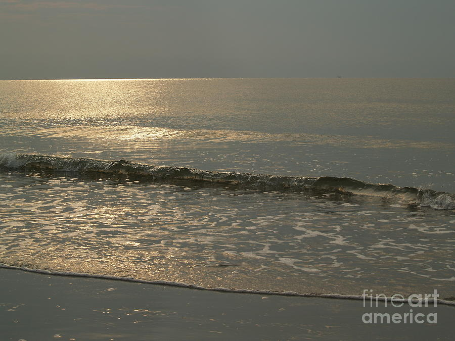 Sunrise Photograph - Single Breaker At Dawn On Hunting Island  by Anna Lisa Yoder